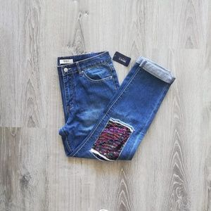 NWT Forever 21 high rise boyfriend jeans sequins